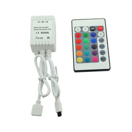 Wholesale Ir Rgb Led Controller - 24Key IR Remote Controller For 5M RGB 5050 300 LED Light Strip 12V 24V DC 6A,16 Colors Changing