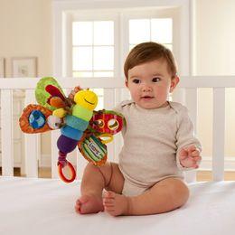 Cochecitos de muñecas online-9 pulgadas Lamaze Juguete Mariposa cuna juguetes con sonajero mordedor Infantil Desarrollo Temprano Juguete cochecito música Bebé muñeca de juguete E033