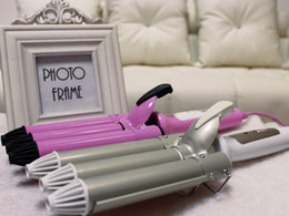 Wholesale Wave Clamp - Fashion 200V Hair Beauty 3 Barrel Hair Curl Iron Flat Ceramic Roller Crimper Tongs Clamp Wave Curler DIY Salon Styling Tools Straightening