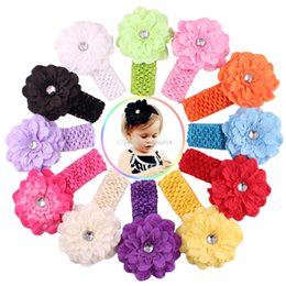Wholesale Baby Flower Headband Chiffon - 13 Color Baby Chiffon crochet headhand Christmas Colorful Floral Elastic Peony flower Hairband hairbow Accessorie E096