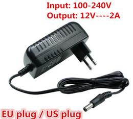 Wholesale Adapter Plug For China - 12V2A AC 100V-240V Converter Adapter DC 12V 2A 2000mA Power Supply EU Plug 5.5mm x 2.1-2.5mm for LED CCTV Free shipping