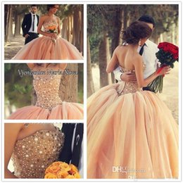 Wholesale Dress Quinceanera Organza Strapless - New Sexy Peach Strapless Sweetheart Neck Organza Ball Gown Crystyal Quinceanera Dresses Floral Beaded Crystals 2015