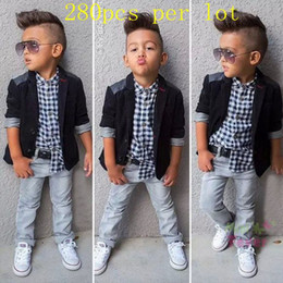 Wholesale Spring Clothes Arrival For Kids - New arrival outfits for baby boy Gentleman Casual Blazer+Shirts+Jeans Pants with belt 3 Pcs Suit Wedding Party Baby Boys Clothes Kids Sets