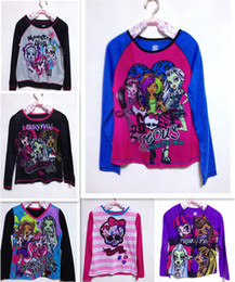 Wholesale Wholesale Long Sleeved Tshirts - 2015 Spring Autumn New Monster high Cartoon Long sleeve Tshirts Baby Clothes Kids clothing 6 design C001