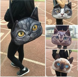 Wholesale Doggy Shoulder Bag - Wholesale-Free shipping 3D printed cat bag,handbag shoulder bag for girls,birthday gift cute lovely doggy puppy cat famous bag pack cool