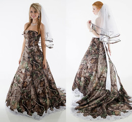 Wholesale Elegant Bridal Sashes - Elegant Camo Wedding Dresses Strapless Appliques Fluffy Ball Gown Wedding Dress Country Cowgirls Camouflage Bridal Dresses