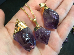"""Wholesale Electroplate Necklace - 16"""" Raw Amethyst Point Pendant Necklace    Amethyst Gemstone Necklace Available in Gold or Silver Electroplated   Raw Amethyst BEAUTIFUL"""