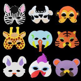 animais máscara facial crianças Desconto Animais dos desenhos animados Crianças Cosplay Máscara Meia Face EVA Cor Adorável Crianças Máscara Festa de Aniversário Suprimentos Favores Do Presente Festivo 100 pçs / lote SD416