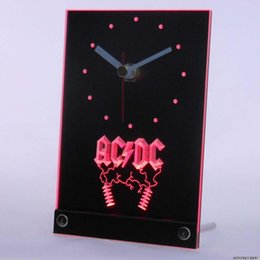 Wholesale Led Tables Bars - Wholesale-tnc0142 ACDC AC DC Rock n Roll Bar Beer Table Desk 3D LED Clock