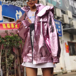 Wholesale Leather Baseball Jacket Women - Wholesale- TWOTWINSTYLE Metallic Textured Bright PU Faux Leather Jacket Bomber Baseball Outerwear Coat Tops Femme Loose Long Sleeve Clothes