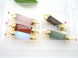 Wholesale Gold Plated Connector Charms - 10PCS Mixed Druzy Quartz   Tiger Eye   Agate   Opal Gem Stone Connector Beads, Gold plated Pendant, Jewelry Findings