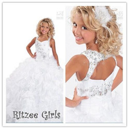 Wholesale New Arrival Summer Girls - Girls PageanT Ritzee Girls Glitzy Kids Flower Party Evening Prom Dresses Ball gown Square Floor-length 2015 Summer New Arrival