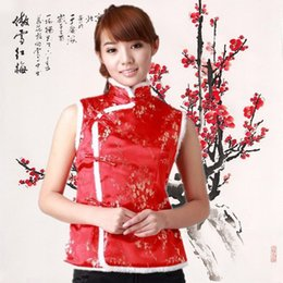 Wholesale Chinese Winter Vest - Wholesale-2015 New Ladies Girls womens winter traditional Chinese garments Vest with free and drop shipping