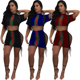 Wholesale Party Skirt Women - Summer sexy Women Panelled Striped Two Pieces Dress Bodycon Dress Vestidos short tops skirts Party Club Dubai Dresses Women's Two Piece Sets