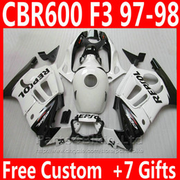 Wholesale 95 Cbr Fairing Kit - OEM factory custom bodywork for Honda fairing kit CBR 600 F3 CBR600F3 1997 1998 ABS plastic REPSOL fairings CBR600 F3 95 96 EDJC