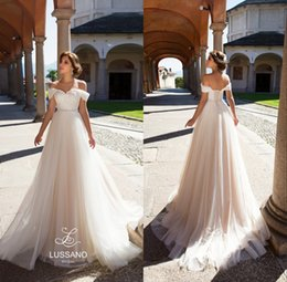 Wholesale White Wedding Corset Bodice - 2018 Castle Elegant A-Line Tulle Beach Wedding Dresses Off Shoulder Lace Appliques Corset Back Bridal Gowns Custom Made Sexy