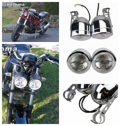 Wholesale Classic Suzuki - PAZOMA Motorcycle Headlight Chrome Twin Head light For VN Vulcan Classic MeanStreak Nomad 1600 Brackets Streetfighter Motorcycle