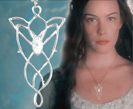 Wholesale Arwen Evenstar Silver - Argent alloy Lord of the rings Hobbit Elf Genius Princess Arwen Evenstar necklace evening star pendant Imitation zircon necklace girl x066