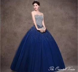 Wholesale Illusion Strapless Ball Gown - Royal Blue Ball Gown Strapless Crystal Quinceanera Dresses Rhinestone Beaded Lace-up Long Vestidos de 15 Anos 2017 Sweet 16 Dresses