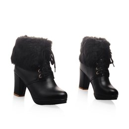 Wholesale Leather Lace Trim - Womens Fashion Fur Trim lace up pump block high heels platform ankle boots shoes