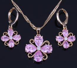 Wholesale Hoop Pendant Necklace - Flawless Pink Topaz White Cubic Zirconia Flower Shaped 18K Yellow Plated Necklace Pendant Hoop Earrings Jewelry Sets Free Gift Bag X0175