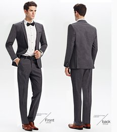 Wholesale Garment Young - New young people slim gray leisure suits men suit the groom's best man wedding garment man's bussiness suits (jacket+pants+tie)