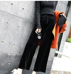 Wholesale Tall Wide Leg Pants - Han edition easing of tall waist black velvet wide-legged pants female autumn winter show thin straight leg height leisure trousers