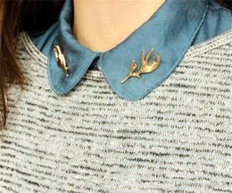 Wholesale Wholesale Business Clothes - Retro Art Antlers brooches gold buckhorn Collar pins statement jewelry for dress business suit Clothing Accessories Christmas gift 170225