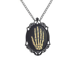 Wholesale Black Antique Frames - Black Statement Antique Skeleton Ghost Claw Necklace, Punk Skeleton Gripper Ghost Claw Pendant Choker, Photo Frame Necklaces