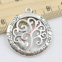 Wholesale Handmade Jewelry Sale - 10pcs Hot Sale Antique Silver Tree of Life Mom You are the Heart of Family Charm Pendant for Jewelry Making DIY Handmade 32x28mm Jewelry mak