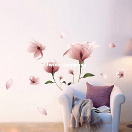 Wholesale Sticker Plastic Flower - New Romantic Elegant Frosted Pink Lily Flower Petal Removable Wall Sticker Bedroom Living Room Home DIY Free Shipping