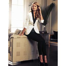 Blazer blanco pantalones negros ropa formal online-Chaqueta Blanca Pantalones Negros Elegante Trabajo Formal Ropa 2 Piezas Conjunto Trajes de Negocios Para Mujer Blazer Pantalones Femeninos Traje Uniforme de Oficina