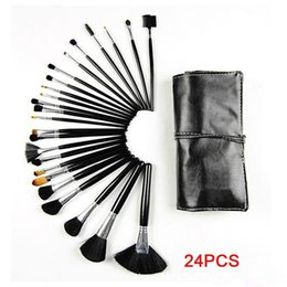 Wholesale Newest Hair Tools - 2015 Newest 32pcs 24pcs Professional Cosmetic Makeup Brushes set kit tool + Black Pouch Bag high quality free shipping