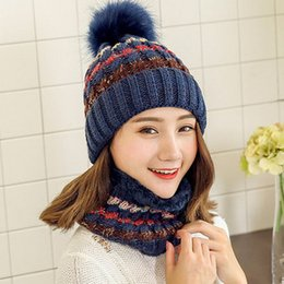 Wholesale Cute Scarf Ties - Wool Knit Fur Ball Hat Scarf One Winter Warm Sweet Fashion Cute New Multicolored Winter Collar Hats & Scarves Set Wholesale