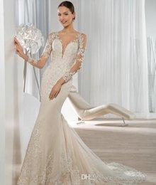 Wholesale Dress Demetrios Mermaid - Exquisite Long Sleeve Mermaid Wedding Dresses 2016 Lace Applique Sequined Covered Button Bridal Gowns Demetrios Bride Dress 2016