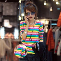 Wholesale Long Sleeved T Shirts Ladies - 2014 NEW HOT Fashion trendy Cozy women ladies Noble clothes Tops Tees T shirt Long-sleeved Rainbow stripes T-SHIRT