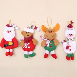 Wholesale Crafts Dolls Supplies - Merry Christmas Party Santa Claus Bear Christmas Tree Elk Snowman Hanging Ornaments Crafts Cloth Doll Home Decor Supply
