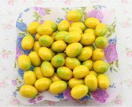 Wholesale Wholesale Artificial Mini Fruit - 4CM Mini yellow artificial faux lemon simulation plastic fruits living room home decor 20pcs lots free shipping