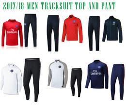 Wholesale Psg Jacket - 2017 NEYMAR JR PSG jacket Sweater MBAPPE soccer chandal football tracksuit adult training suit skinny pants Sports JACKET