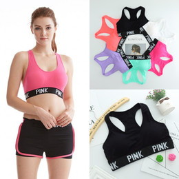 Wholesale Pink Bra Straps - VS LOVE PINK Running Sports Shirts for Yoga Gym bras Push Up Bra Fitness Patchwork Tops love Adjustable Strap Bra pink DHL free shipping