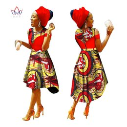 Wholesale Nations Red - 2017 African Dress for Women Summer Vintage Maxi Dress Dashiki african bazin nation dress O-Neck women clothing none WY1228