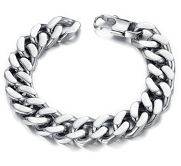 Wholesale Bracelet Mens - 10 12 14mm Curb Cuban Stainless Steel Bracelet Mens Chain Clasp Link Bracelets Silver Tone Jewelry Gift Promotion