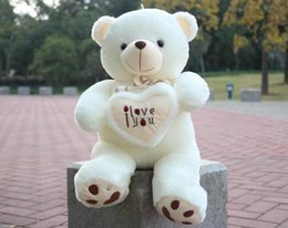 Wholesale Comfort Day - 27.5inch 70cm White Beige Giant Big Plush Teddy Bear Soft Gift with I LOVE YOU letters for Valentine Day Birthday