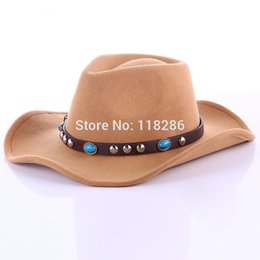Wholesale Vintage Cowboy Hats - Wholesale-Western Cowboy Hat For Women Men Vintage Retro Wide Brim Wool Felt Bowler Fedora Hat Jazz Hat With Belt Summer Sun Beach Hat