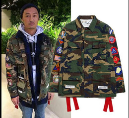 Wholesale Military Badge Embroidery - Fall-Free shipping Hip hop off white camo pocket embroidery badge Jacket Winter kanye west Camouflage Military Uniform Coat