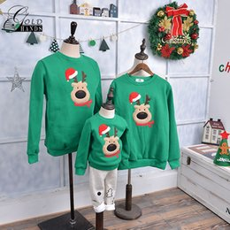 Wholesale Family Christmas Sweaters - Family Matching Outfits Winter Christmas Sweater Cute Deer Children Clothing Kid T-shirt Thickening Warm Family Party Clothes