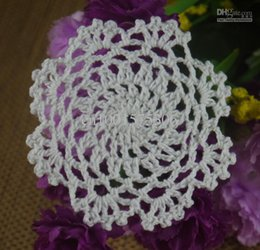 Wholesale Blue Doilies - Free shipping wholesale hand made Crochet doilies cup mat Red, blue, yellow, black, White Pink Natural color Round Doily 6-8CM 100pcs LOT aa