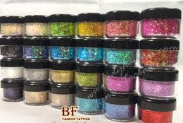 Wholesale Nail Art Tatoo - Wholesale-24pcs lot new High quality nail body Laser Glitter powder Shimmer Tattoo Creative DIY Body Art painting tatoo sexy women party
