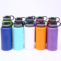 Wholesale Lids Caps Wholesale - 18oz 32oz 40oz Vacuum Water Bottle Insulated 304 Stainless Steel Water Bottle Travel Coffee Mug Wide Mouth Flip Cap Cups 8 color WX9-148