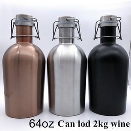 Wholesale Thermos Pot Wholesale - 64oz Beer Growler Bottle Portable Stainless Steel Wine Pot With Lid Hip Flask Outdoor sports thermos kettle Golden Sliver Black 3Colors New